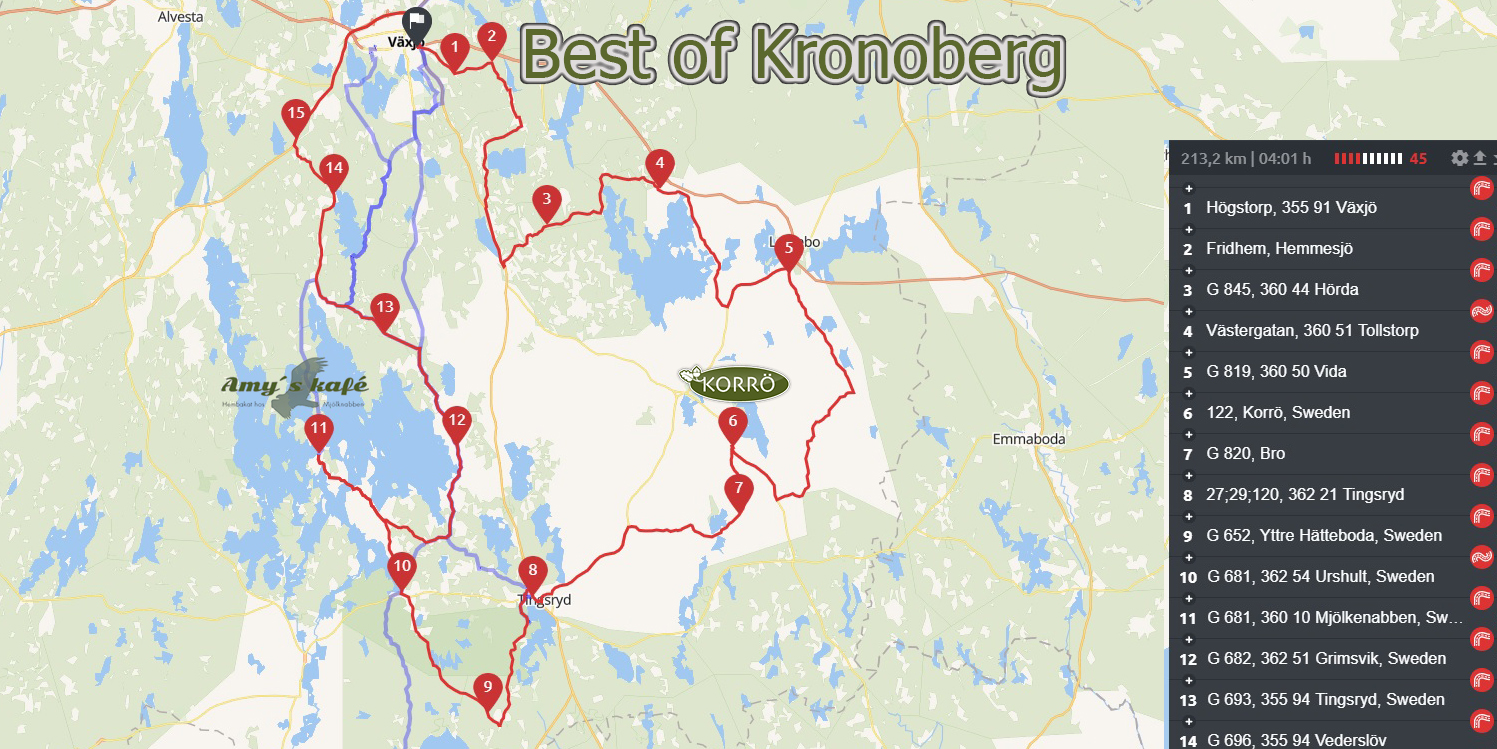 Karta över turen